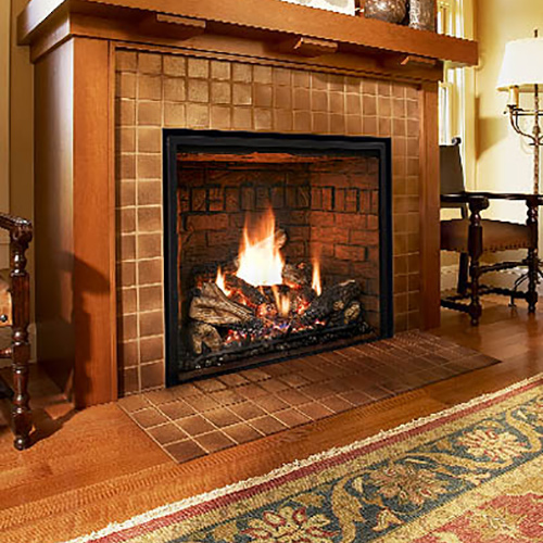 Mendota's FullView Traditional zero clearance gas fireplace blends contemporary elements with its reflected fire.