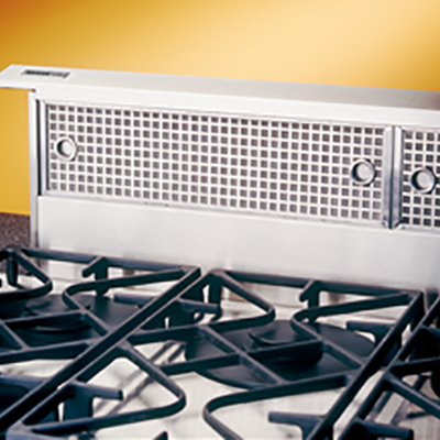 The Boan Elite Downdraft Vent System installs directl behind the cooktop, saving precious cabinet space. Learn More Today!