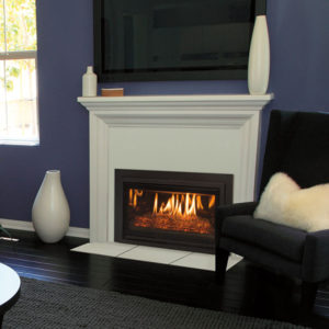 The Kozy Heat Chaska 29G Gas Fireplace Insert Comes with a Rock Set, Glass Media, or Log Set Models.