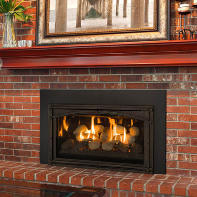 The Kozy Heat Chaska 29R Gas Fireplace Insert can be ordered with either a Log Set, Rock Set, or Glass Media Model.