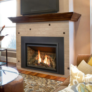 The Kozy Heat Chaska 34 Gas Fireplace Insert can be ordered with a Glass Media, Rock Set, or Log Set Model.