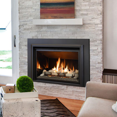 The Chaska 34 Gas Fireplace Insert can be ordered with either a Log Set, Glass Media, or Rock Set model.