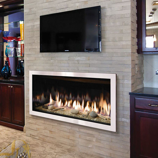 The Slayton 42S Gas Fireplace Insert Models Come Standard with Decorative Black, Curved Firebox Lining