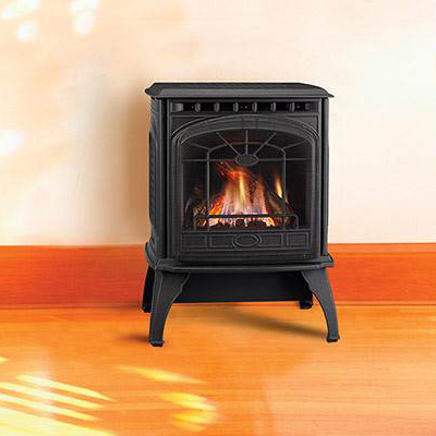 The Quadra Fire Garnet Freestanding Gas Fireplace is available in matte black or mahagany porcelain enamel finish. Order Today!
